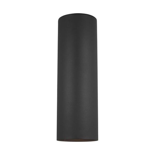 Cylinders Black Two-Light Outdoor Wall Sconce with Tempered Glass Shade Energy Star, image 1