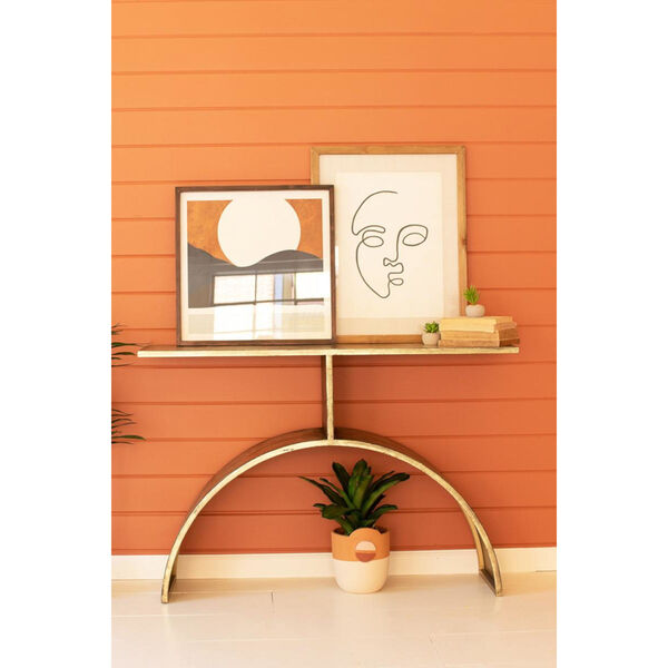 Antique Brass Console Table with Arched Base, image 1