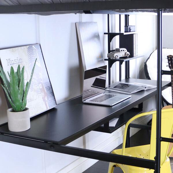 Black Metal Full Loft Bed with Workstation, image 5