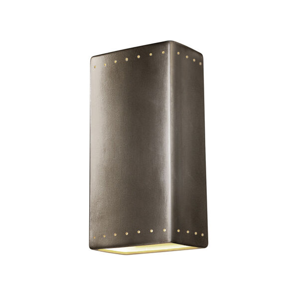 Ambiance Antique Silver 11-Inch Rectangle Closed Top GU24 LED Rectangle Outdoor Wall Sconce, image 1