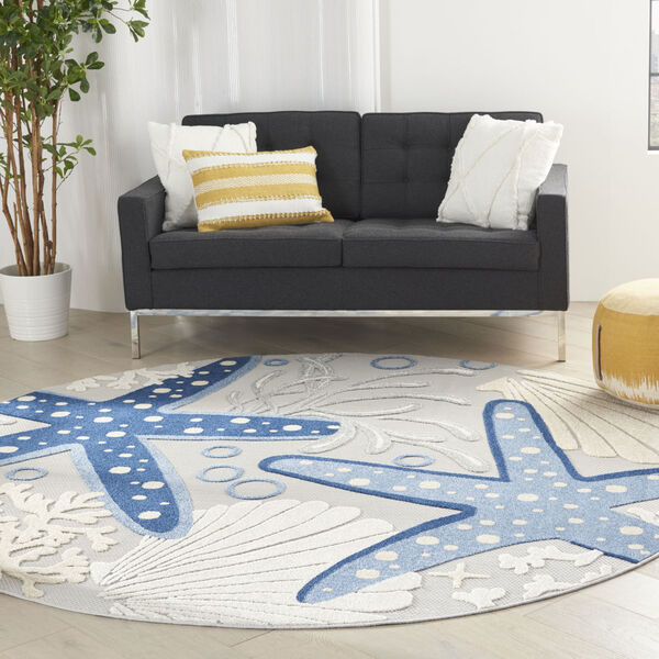 Aloha Gray and Blue 7 Ft. 10 In. x 7 Ft. 10 In. Round Indoor/Outdoor Area Rug, image 1