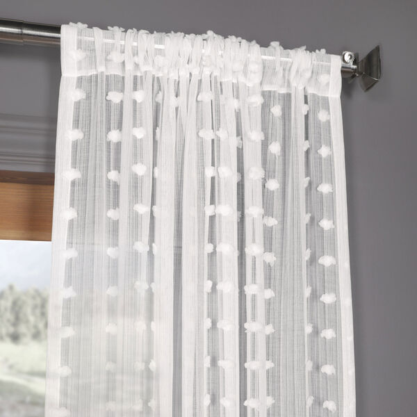 White Dot Patterned Faux Linen Sheer 108 x 50 In. Curtain Single Panel, image 3