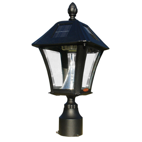 Lewiston Post with Economy 1 Mailbox, Fluted Base in Black Color with Black Solar Lamp, image 3