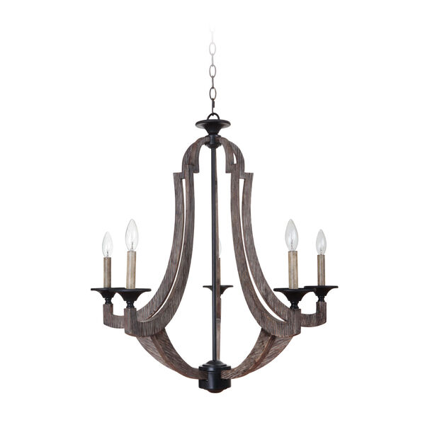 Winton Weathered Pine and Bronze Five-Light 29-Inch Chandelier, image 1