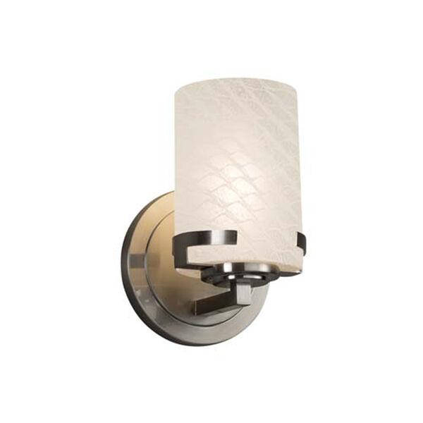 Fusion - Atlas Brushed Nickel LED LED Wall Sconce with Cylinder Flat Rim Weave Shade, image 1