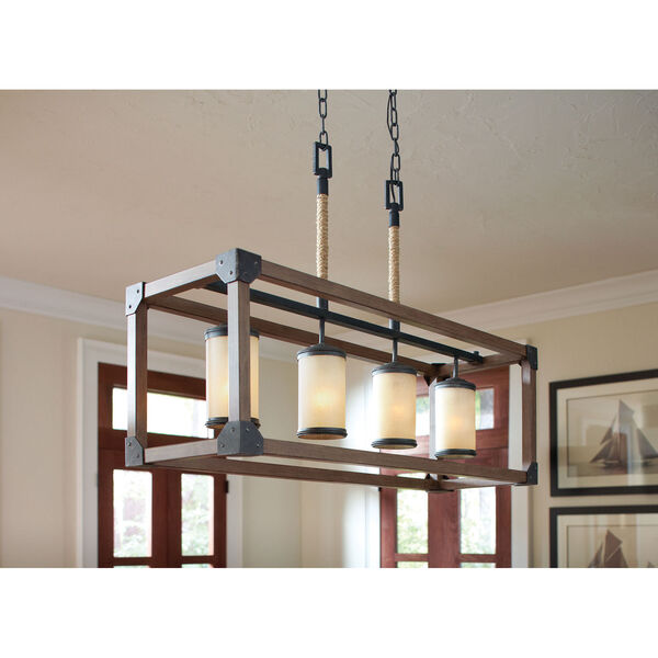 Dunning Stardust Four-Light  Island Pendant with Creme Parchment Glass, image 2