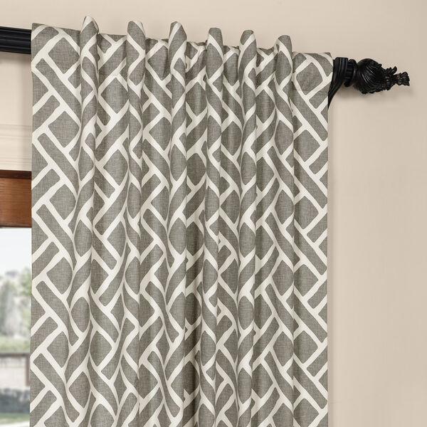 Martinique Grey 84 in. x 50 in. Printed Cotton Curtain Panel, image 4