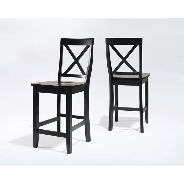 X-Back Bar Stool in Black Finish with 24 Inch Seat Height- Set of Two, image 3