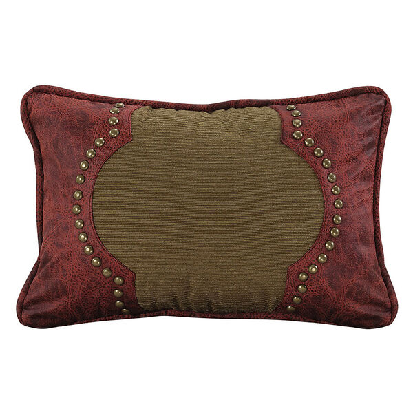 San Angelo Tan and Red Faux Leather 12 x 18 In. Throw Pillow, image 1