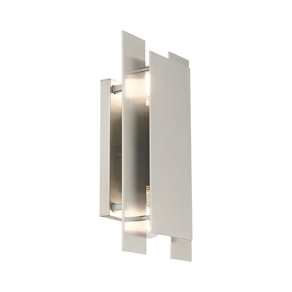 Varick Brushed Nickel Eight-Inch Two-Light ADA Wall Sconce with Brushed Nickel Metal Shade, image 5