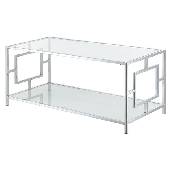 Town Square Coffee Table in Clear Glass and Chrome Frame, image 6