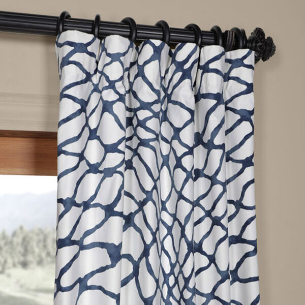 Ocean Blue 120 x 50 In. Printed Cotton Twill Curtain Single Panel, image 2