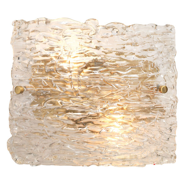 Swan Clear Antique Brass 10-Inch Two-Light Wall Sconce, image 2