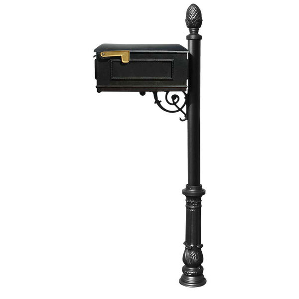 Lewiston Black Mailbox with Post, Ornate Base and Pineapple Finial, image 1