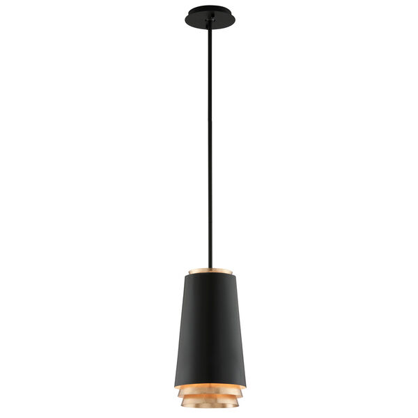 Fahrenheit Textured Black with Gold Leaf Accents 8-Inch LED Mini Pendant with Textured Black with Gold Leaf Accents, image 1