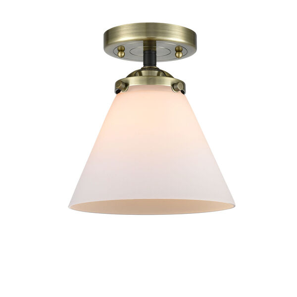 Nouveau Black Antique Brass Eight-Inch LED Semi-Flush Mount with Matte White Cased Large Cone Shade, image 1
