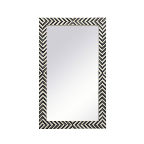 Colette Chevron 24 x 40 Inches Glass and Wood Rectangular Mirror, image 1