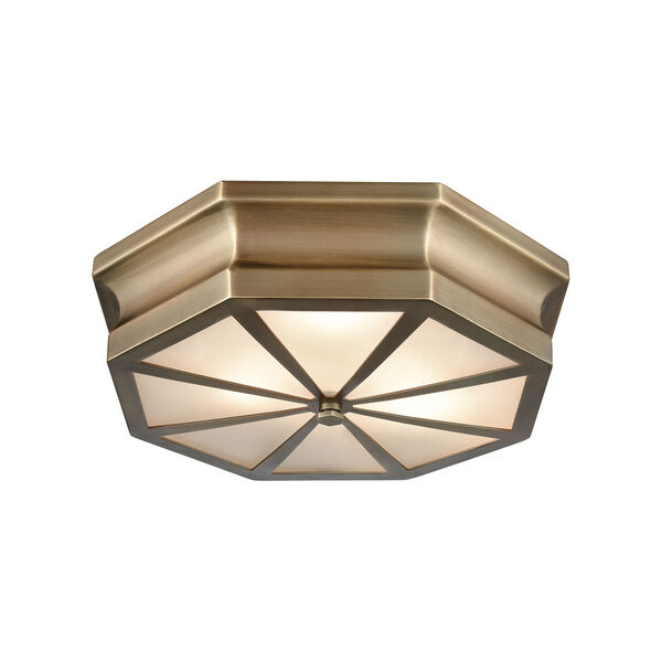 Windsor Classic Brass 16-Inch Three-Light Flush Mount, image 1