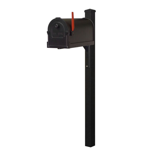 Savannah Curbside Black Mailbox and Wellington Direct Burial Mailbox Post Smooth, image 2