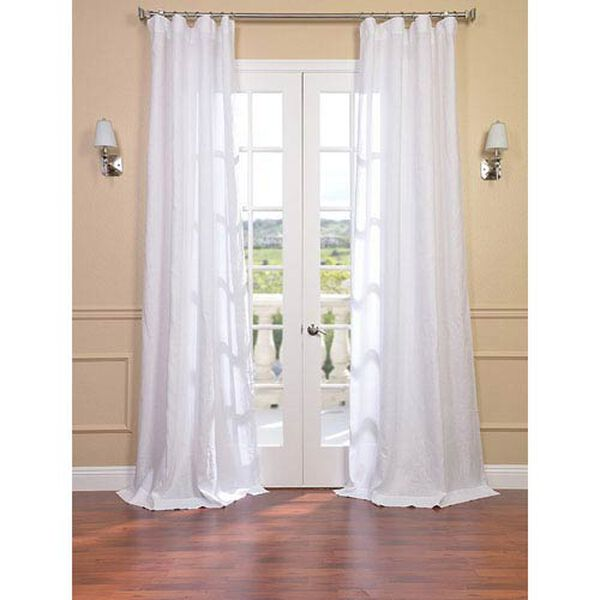 Signature Purity White French Linen Sheer Single Panel Curtain Panel, 50 X 108, image 1