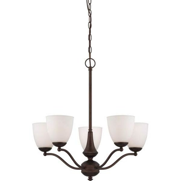 Patton Prairie Bronze Finish Five Light Chandelier (Arms Up) with Frosted Glass, image 1