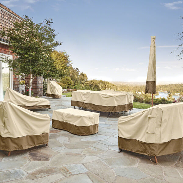 Ash Beige and Brown Patio Chaise Lounge Cover, Set of 2, image 3
