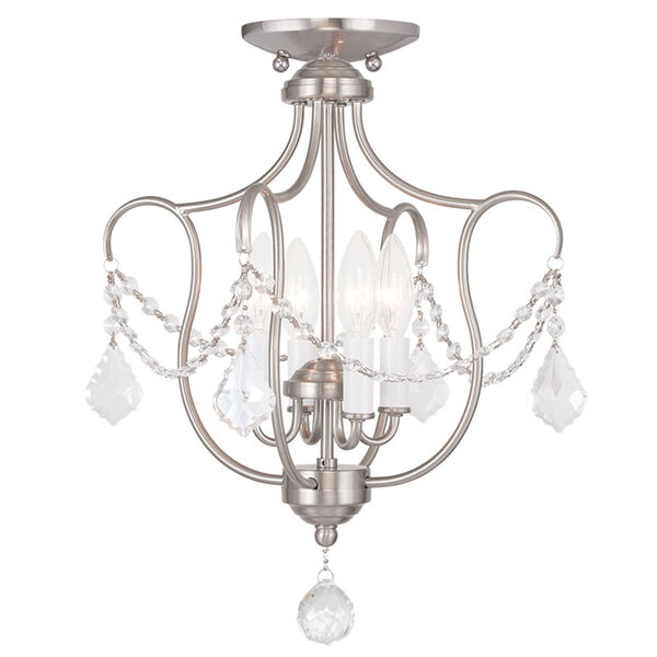 Chesterfield Brushed Nickel Four Light Convertible Chain Hang and Ceiling Mount, image 2