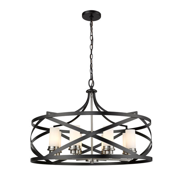 Malcalester Matte Black and Brushed Nickel Eight-Light Pendant, image 4