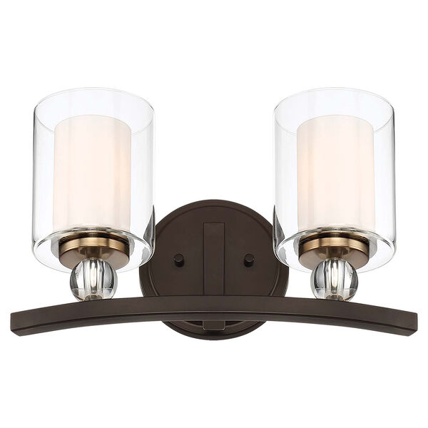 Studio 5 Painted Bronze with Natural Brushed Brass Two-Light Bath Vanity, image 1
