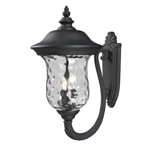 Armstrong Three-Light Black Outdoor Large Upward Wall Lantern with Clear Waterglass, image 1