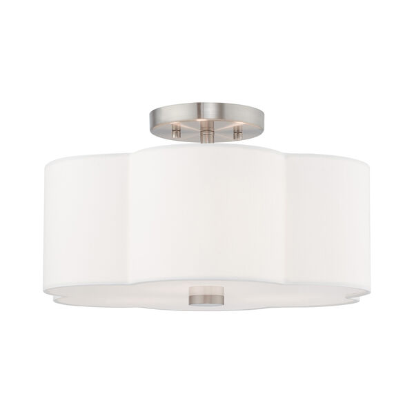 Chelsea Brushed Nickel 15-Inch Three-Light Ceiling Mount with Hand Crafted Off-White Hardback Shade, image 5