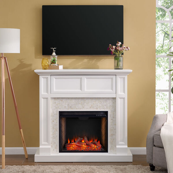 Nobleman White Smart Media Electric Fireplace with Tile Surround, image 1