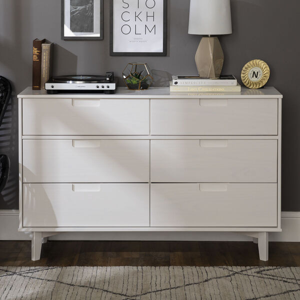 Sloane White Groove Dresser with Six Drawer, image 1