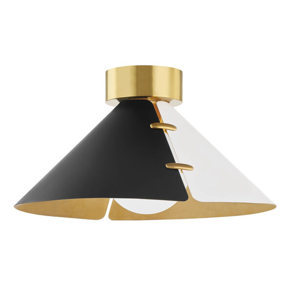 Split Black and White Brass 15-Inch One-Light Flush Mount, image 1