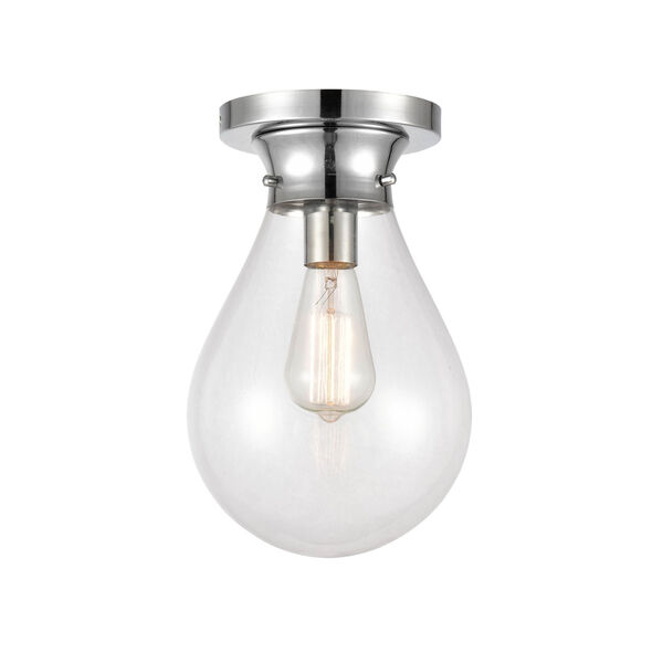 Genesis Polished Chrome Eight-Inch LED Flush Mount with Clear Glass Shade, image 1