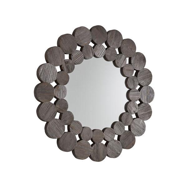 Katherine Dark Brown Reclamied Wood 32-Inch Round Wall Mirror, image 2
