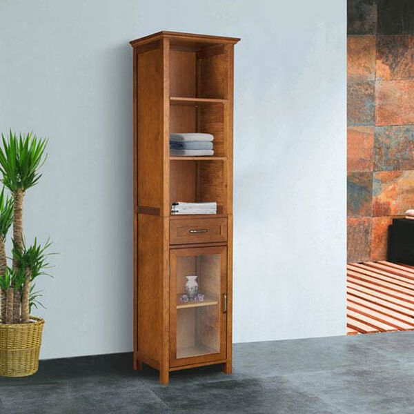 Avery Oak Linen Cabinet with One-Drawer and Three Open Shelves, image 4