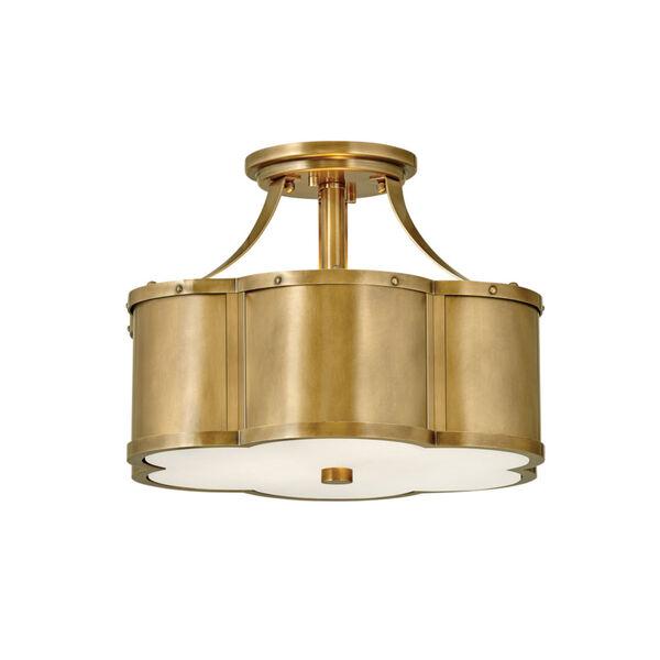 Chance Heritage Brass Two-Light Semi-Flush Mount, image 1