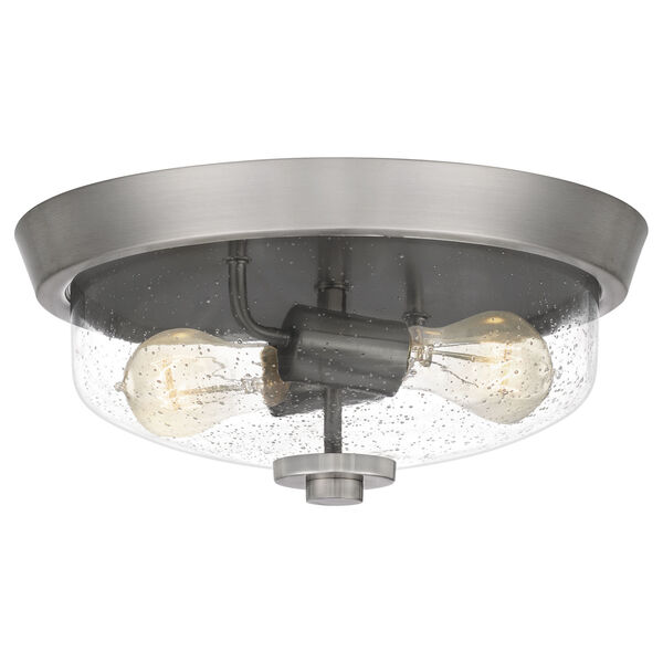 Radius Brushed Nickel 13-Inch Two-Light Flush Mount with Clear Seeded Glass, image 1