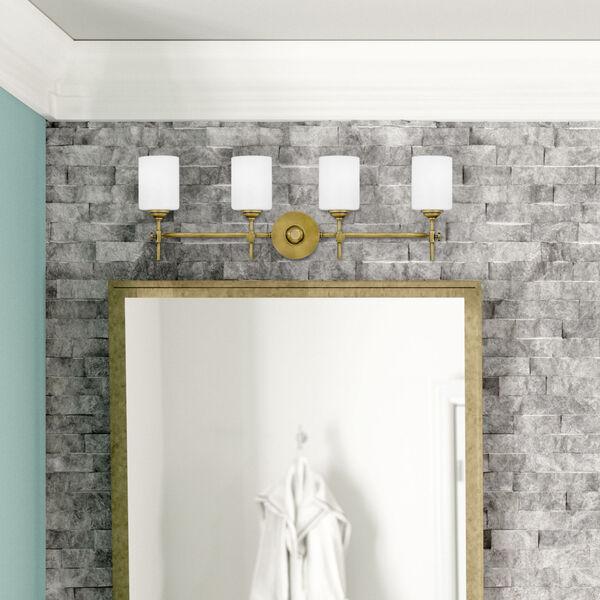 Aria Weathered Brass Three-Light Bath Vanity with Opal Glass, image 7