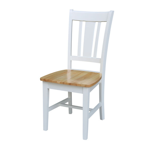 San Remo White Natural Chair, Set of Two, image 1