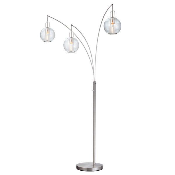Kaira Brushed Nickel Three-Light Arc Floor Lamp, image 1