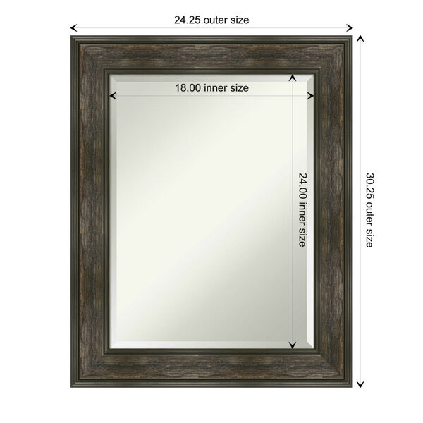 Rail Brown 24W X 30H-Inch Bathroom Vanity Wall Mirror, image 6
