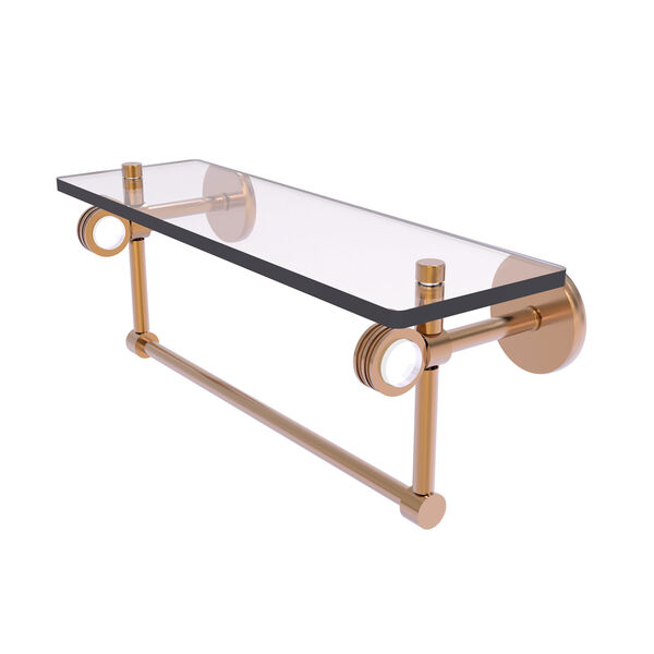 Clearview Brushed Bronze 16-Inch Glass Shelf with Towel Bar and Dotted Accents, image 1