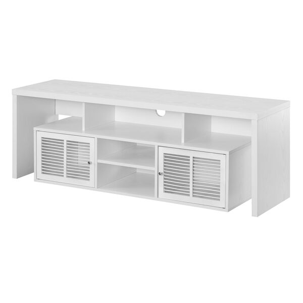 Lexington White 60-Inch TV Stand with Storage Cabinets and Shelves, image 1