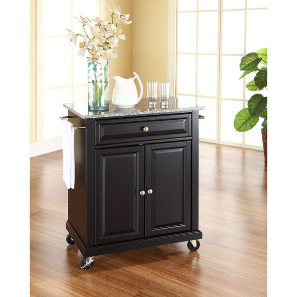 Solid Granite Top Portable Kitchen Cart/Island in Black Finish, image 3