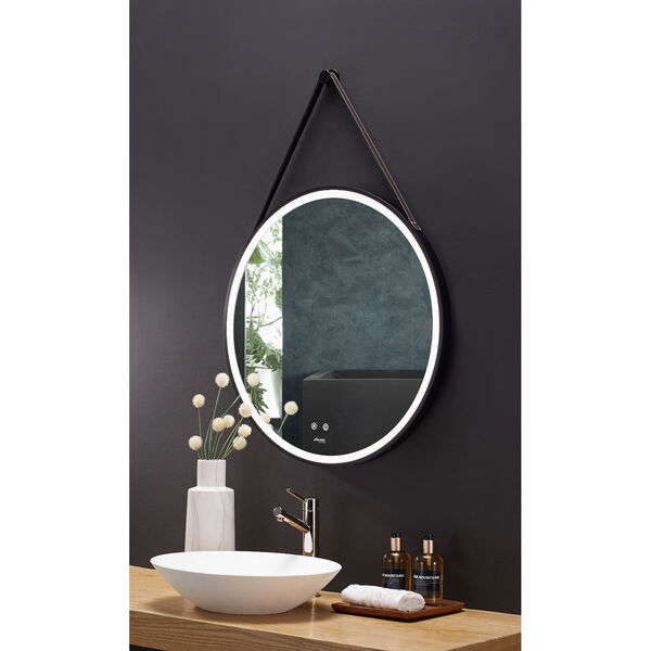 Sangle Black 30-Inch Round LED Framed Mirror with Defogger and Vegan Leather Strap, image 3