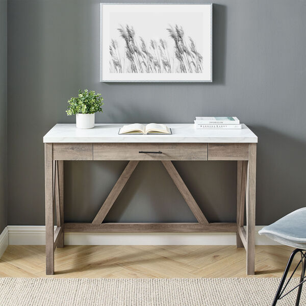 A-Frame Faux White Marble and Grey Wash 46-Inch Computer Desk with Drawer, image 3