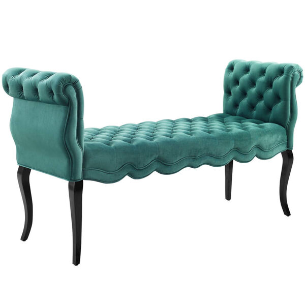 Vivian Chesterfield Style Button Tufted Performance Velvet Bench, image 1