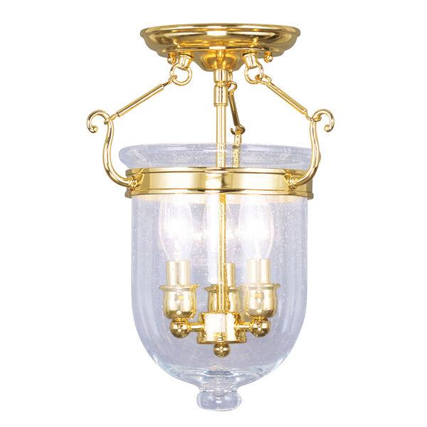 Jefferson Polished Brass Three-Light Semi-Flush, image 1